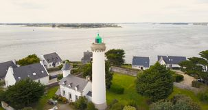 4K, Aerial view of lighthouse of Port Navalo stock footage