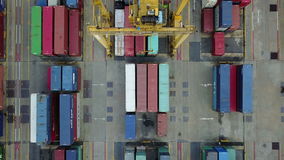 4K Aerial view of loading cargo container.  stock footage