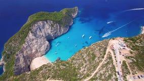 4k Aerial view of Navagio beach Shipwreck view in Zakynthos Zante island, in Greece stock video