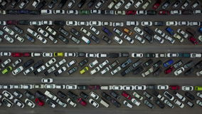 4K Aerial view of parked cars stock video
