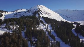 4K aerial view of praz de lys ski station in the French Alps in France. 4K aerial view of praz de lys ski station in the French Alps - France stock footage