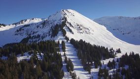 4K aerial view of praz de lys ski station in the French Alps in France. 4K aerial view of praz de lys ski station in the French Alps - France stock video