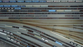 4K Aerial view of railroad rail yard stock footage