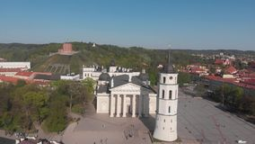 4k aerial view of Sts Johns` Church, Vilnius, Lithuania stock video footage