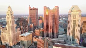 4k aerial view on tall skyscrapers towers of busy financial downtown district in modern urban city of Columbus Ohio stock footage