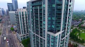 4k aerial view on Toronto downtown busy district skyscrapers and modern towers stock video footage