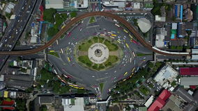 4K Aerial view of traffic circle at Bangkok.  stock footage
