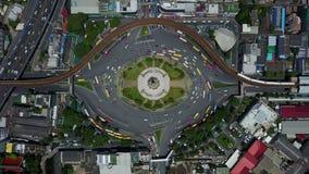4K Aerial view of traffic circle at Bangkok stock footage