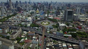 4K Aerial view of victory momument circus Bangkok stock video footage