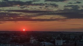 4K Aerolapse  aerial timelapse / hyperlapse  of the scenic city skyline view sunshine of the sunset in Lviv stock video footage