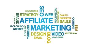 Affiliate Marketing Animated Tag Word Cloud,Text Design Animation seamless loop.
