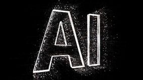 4k AI word artificial intelligence cloud,design animation,binary computer code.