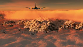 4k airplane flying above clouds & snow mountain,hight altitude space.