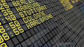 4K - Airport Departure Board with Germany cities destinations stock video footage