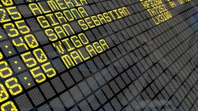 4K - Airport Departure Board with Spanish destinations. Close-up of an airport departure board to Spanish cities destinations, with environment reflection.Part stock footage