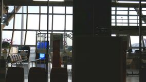 4K. airport terminal gate at sunset time with dolly shot. travel and transportation business footage background.  stock video footage