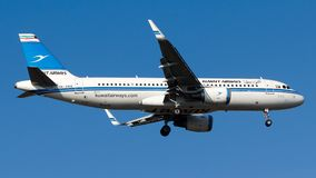 9K-AKK Kuwait Airways , Airbus A320-200. 9K-AKK is on final approach runway 06 at Istanbul Sabiha Gokcen Airport LTFJ, December 31, 2018 royalty free stock image