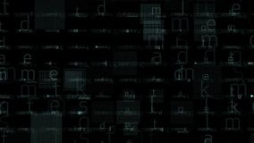 4k alphabet character matrix background,input search letter,Big data storage. 4k Abstract alphabet character matrix background,computer letters tech,Big data stock footage