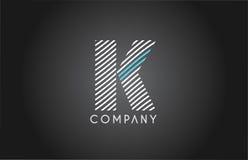 K alphabet line stripe white blue letter logo icon design Stock Image