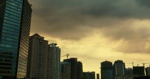 4k Altocumulus clouds over CBD high-rise&skyscraper dusk sunset&dawn sunrise. stock video footage
