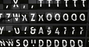 4K, Analoog luchthavenaanplakbord met vluchtinformatie, aankomststad van Barcelona, Spanje stock videobeelden