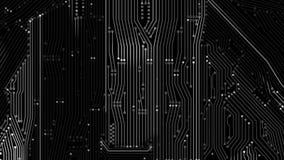 4K animaci druku obwodu deska z związkiem i oświetleniowym skutka elementem linii i kropki ilustracja wektor