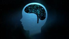 4K animaci kropki oświetlenie z związek linii ludzkim mózg ilustracji