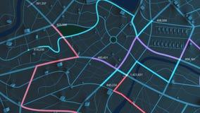 4K animaci widok z lotu ptaka nocy mapa z 3d budynku i miejsce przeznaczenia lokaci poruszającą ścieżką z adrą przetwarzającą