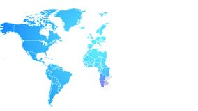 World map showing up intro by countries