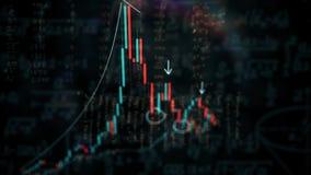 4K animatie van effectenbeursinvestering handel De grafiekgrafiek van de kaarsstok Tendens van grafiek, stijgende of ? la baisse  stock illustratie