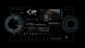 4K animatie van HUD-hoofd op vertoningsinterface met het element van de de ladingsbar van de pictogramgrafiek voor het futuristis vector illustratie