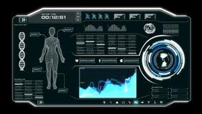 4K animatieui Gebruikersinterface met van de gegevenshud pi van het lichaamsaftasten het vakje van de de bartekst lijst en elemen royalty-vrije illustratie