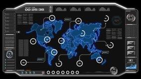 4K animatieui Gebruikersinterface met van de gegevenshud pi van de wereldkaart het vakje van de de bartekst lijst en element op d stock illustratie