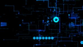 4K Animation 3D abstract dark background moving graph bar infographic dot and line metaphor cyber futuristic data transfer network stock footage