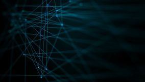 4K animation dark abstract background dot line connection for cyber futuristic technology network concept stock video