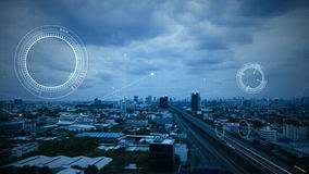 4K Animation of HUD head up display interface on with aeriel view of city for futuristic cyber technology concept.  stock illustration