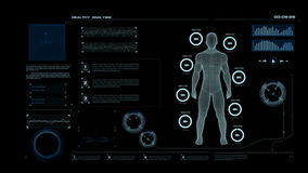 4K Animation HUD head up display interface with man wire frame body for heath care and medical futuristic technology concept.
