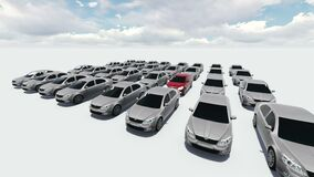 animation - Hundreds Of Cars, One Red