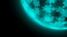 4K animation looping Jigsaw puzzle globe pattern blue green color illustration vector illustration