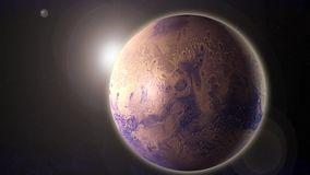 4K Animation of a realistic mars planet with sun flare in space