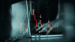 4K animation of stock market investment trading. Candle stick graph chart. The woman hands are typing at laptop keyboard. Animation of stock market investment stock video footage