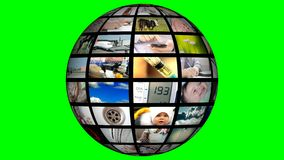 4K Animation of video sphere with media streaming. Hromakey. Background stock video