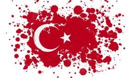 Turkey Flag Reveal With Paint Brush Splatter Mask