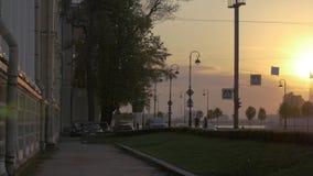 4k, Ansicht über Austauschbrücke und Neva-Fluss, St Petersburg, Russland stock footage