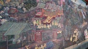 4K arcydzieła Ramayana obraz w świątyni szmaragdowy Buddha w Uroczystym pałac w Tajlandia zbiory