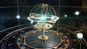 4K. Armillary Sphere And Astrology Signs On Background Of Starry Sky.