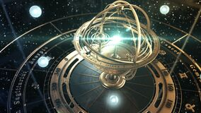 4K. Armillary Sphere And Zodiac Astrology Signs On Background Of Starry Sky.