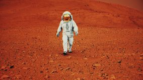 4K Astronaut on the surface of Mars. Background elements furnished by NASA.