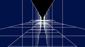 4k ayunan movimiento en el túnel de bobina digital, túnel abstracto de la tecnología, mosca a través de la fibra del circuito elé ilustración del vector