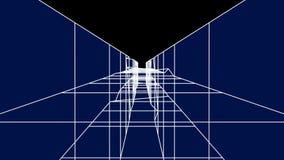4k ayunan movimiento en el túnel de bobina digital, túnel abstracto de la tecnología, mosca a través de la fibra del circuito elé stock de ilustración